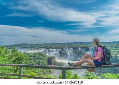 Traveler enjoy view go Iguazu fall from foz do iguacu, Iguazu National Park - UNESCO World Heritage Centre, Brazil