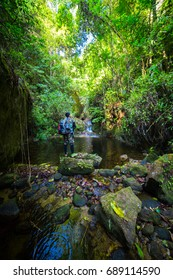 Traveler hiking through deep forest in the mountains