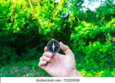 Traveler holding a compass on  park. compass in a hand on mountain blurred background. Hiker searching direction with a compass in the forest.