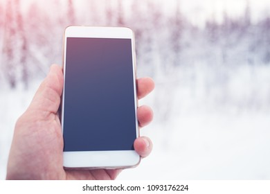 The traveler is holding a phone in the background of a winter forest