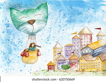 The traveler in a hot air balloon flies over the old city. / Watercolor sketch. Children's drawing.