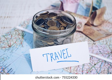 Traveler items on map background