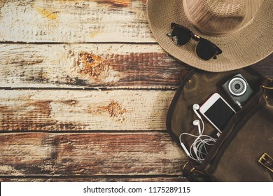Traveler items vacation travel accessories holiday long weekend  day off travelling stuff background concept style Overhead flat  choice guide idea for planning travel around the world
