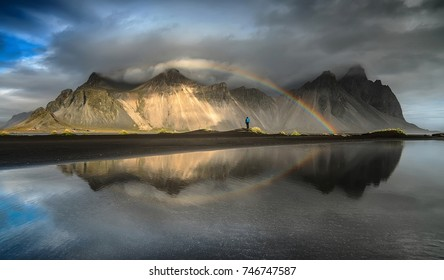 A traveler at a mountain in Iceland. Famous travel destinations.