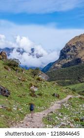 traveler in mountains, Salkantay Trekking, Peru, South America