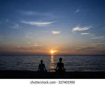 Traveler on the beach, Peacefully beach, sunset on the beach,