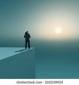 Traveler on top of a cube looking at the sun in horizon. The concept of destination.