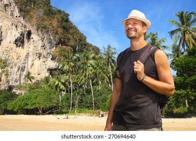 traveler on a tropical island