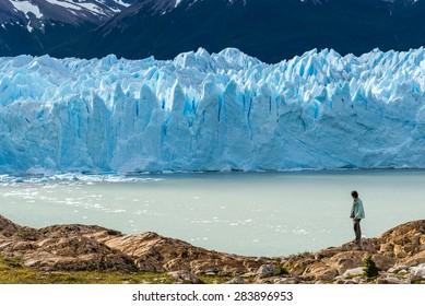 Traveler with Perito Moreno glacier, Argentina