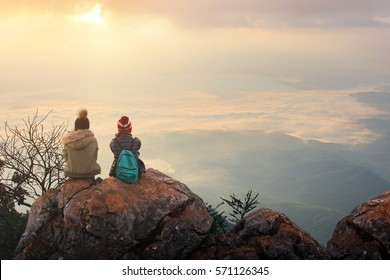 Traveler sightseeing the beautiful scenery of nature and mist during time the sunrise at Doi Luang Chiang Dao,Chiang Mai province in Thailand is a very popular for photographer and tourists.