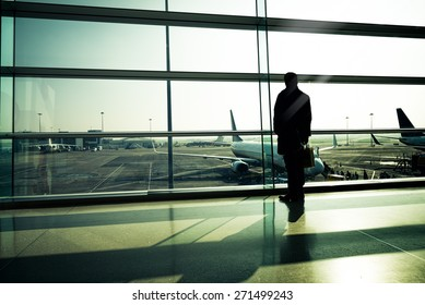 Traveler silhouettes at airport,Dublin