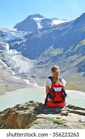 Traveler at theTrift glacier. Switzerland