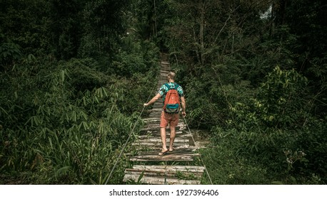 A traveler, a tourist wandering alone through the jungle.