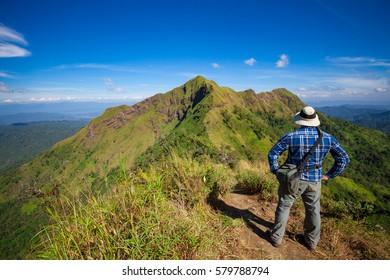 traveler at the view point of Kao Chang puek, Kanchanaburi - Thailand