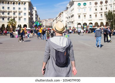 Traveler visiting Aristotelous Square, Thessaloniki, Greece