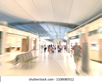 traveler walking at the airport blur background