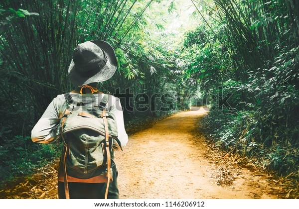 Femme voyageuse avec sac à dos se promener seule sur le chemin d'arbre dans la forêt tropicale Krabi, Voyager l'aventure nature Thaïlande, Tourisme belle destination Asie, Touriste en vacances estivales voyage