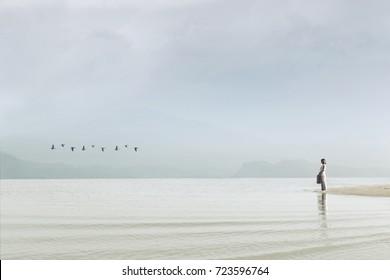 traveler woman looking at uncontaminated nature