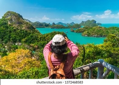 Traveler woman on top island joy view nature scenic landscape Koh Ang Tong island Adventure lifestyle landmark tourist travel Samui Thailand summer holiday vacation, Tourism beautiful destination Asia