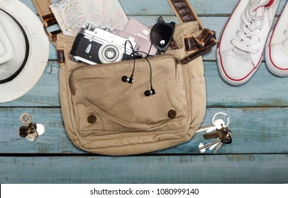 Traveler's accessories, Essential vacation items, Travel concept backgroundad