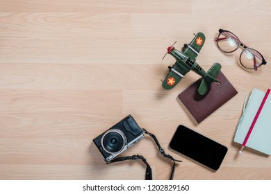 Traveler's accessories, Essential vacation items, Travel concept background.Top view with copy space