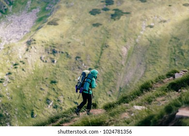 Travelers with backpacks and professional tourist equipment climbing carpathian mountains. Hard hiking. Conquest of high hills. Heavy luggage. Reaching top. Alpine walking. Vacation trip. Lifestyle