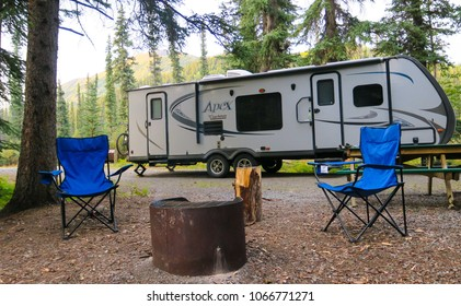 Travelers Have Their Coachman Apex Set Up At One Of The Great Yukon  Territory Government Campgrounds