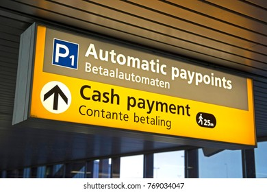 Travelers information at an airport where you can find a cash machine