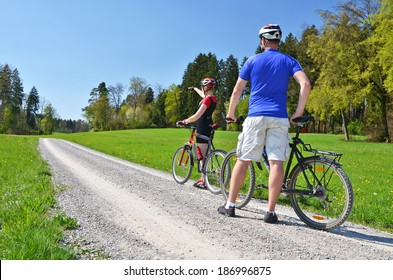 Travelers with mountain bikes