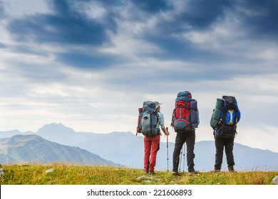 Travelers in the mountains. Sport lifestyle travel concept