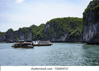 Travelers visited Three Beach Island on Lan Ha Bay by cruise, Hai Phong, Vietnam - May 2017