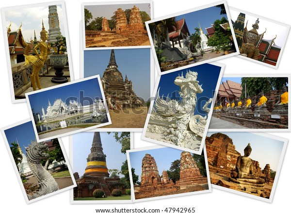 Shots For Thailand >> Traveling Around Thailand Collage 12 Shots Stock Photo Edit