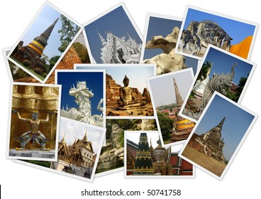 Traveling around Thailand in collage with several shots on white background