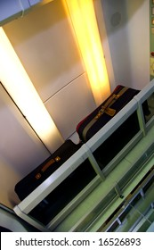 Traveling bags in the train carriage