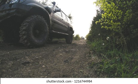 """Traveling by car in the mountains. Ukrainian expedition """"Carpathian border"""". April 2018. Offroad car. The beauty of the tops. Ukrainian Carpathian Mountains."""