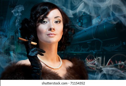 Traveling by train at last century - smoking woman waiting for a train and smokning