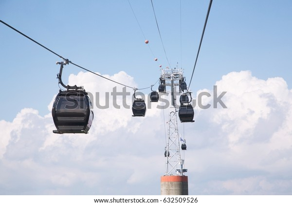 Traveling with cable car.