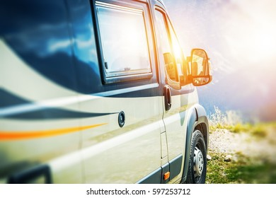 Traveling in the Camper Van Concept Photo with Modern Small Class B Motorhome.