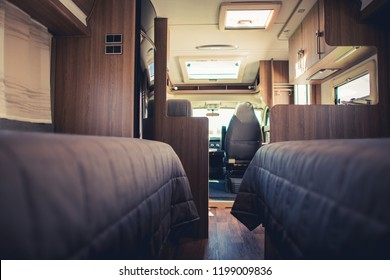 Traveling in the Camper Van. Modern Motorhome Interior. Vacation Time on the Road. Rving Theme.
