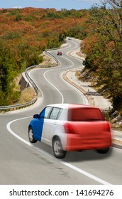 traveling car in national flag of france colors and beautiful road landscape for tourism and touristic adertising