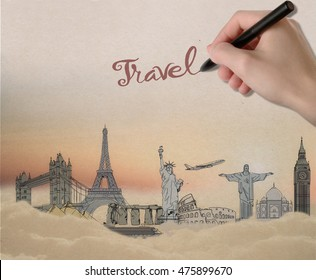Traveling concept with hand writing travel word above sketch of landmarks on abstract sky background