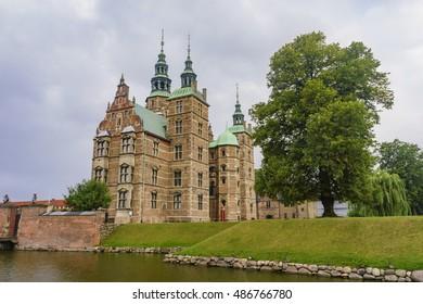 Traveling in the famous Rosenborg Slot, Copenhagen at summer