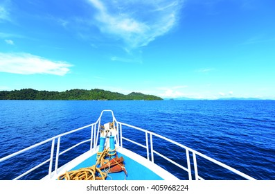 traveling on the  sea  with blue sky