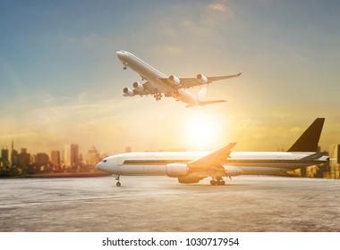 traveling scene of passenger plane on airport runway