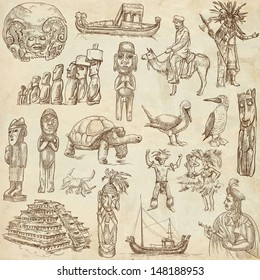 Traveling series: SOUTH AMERICA part 2. - Collection of an hand drawn illustrations . Description: Full sized hand drawn illustrations drawing on old paper.