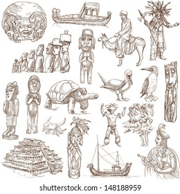 Traveling series: SOUTH AMERICA part 2. - Collection of an hand drawn illustrations . Description: Full sized hand drawn illustrations drawing on white background.