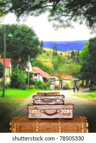Traveling suitcases in the street in the small town of Pilgrims Rest in South Africa