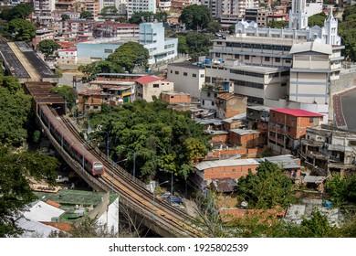 Traveling through Caracas, view of the urban area of Caño amarillo from El Calvario Park
