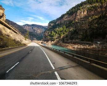 Traveling through Glenwood Springs, Colorado,  on Interstate 70, is a magnificent experience, towering rock cliffs and flowing Colorado river.