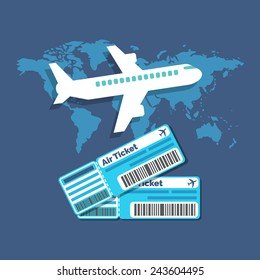 Traveling, Ticket booking concept. Flat design stylish. Isolated on color background